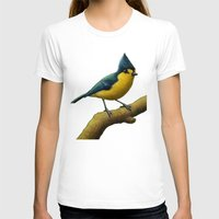 Yellow Tit Womens Fitted Tee White SMALL