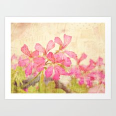Vintage Whimsical Watermelon Pink Summer Geraniums in the City Montage Collage _  très chic Art Print