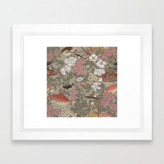 Fishes & Flowers - Seamless pattern Framed Art Print