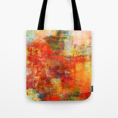AUTUMN HARVEST - Fall Colorful Abstract Textural Painting Warm Red Orange Yellow Green Thanksgiving Tote Bag