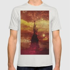 Lady Liberty Red And Yel… Mens Fitted Tee Silver SMALL