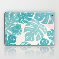 Linocut Monstera Rosy Laptop & iPad Skin
