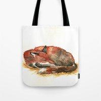 Sleeping Fox Watercolor Tote Bag