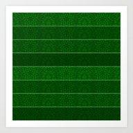 Green Snowflake Stripes Art Print