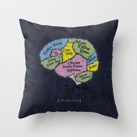 The Geek Brain Throw Pillow
