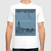 Une Nuit à Paris (blue … Mens Fitted Tee White SMALL