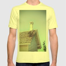 Summer cottage gable roof Mens Fitted Tee Lemon SMALL