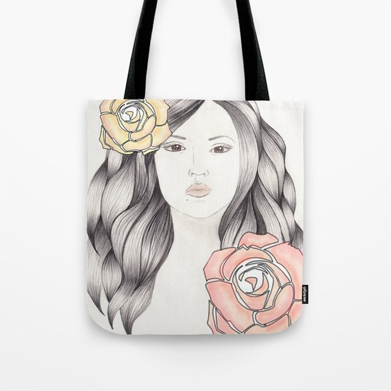 Whimsical Face with Pastel Roses Tote Bag