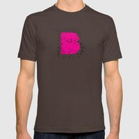 B (abstract geometrical type) Mens Fitted Tee Brown SMALL