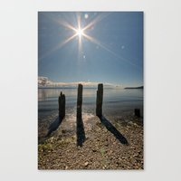 Three Pilings Standing Canvas Print