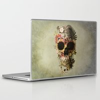 skull Laptop & iPad Skins featuring Garden Skull Light by Ali GULEC