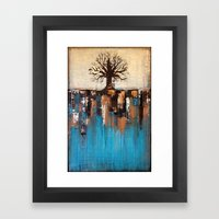Abstract Tree - Teal And… Framed Art Print