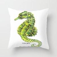 Sea Horse Green Yellow S… Throw Pillow