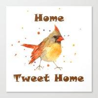 Funny Animals, CARDINAL, bird paintings, bird art, new home decor, bird watercolor Canvas Print