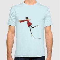 Ice Skate girl SMALL Light Blue Mens Fitted Tee