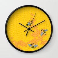 HoneyBees 1 Wall Clock