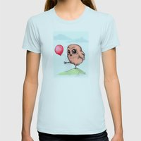 Baby Owl Balloon Womens Fitted Tee Light Blue SMALL