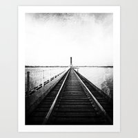 Rail Track through the Bay {Black and White} Art Print