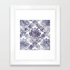 Blueberry Damask Framed Art Print