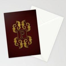Monogram P seahorse Stationery Cards
