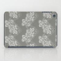 White on Grey Lace iPad Case