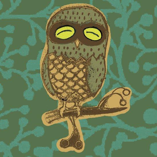 Retro Owl Art Print