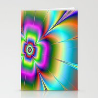 Neon Flower Stationery Cards