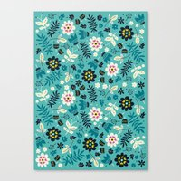 Fresh Blossoms (Greens) Canvas Print