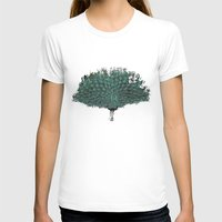 Peacock -blue Womens Fitted Tee White SMALL