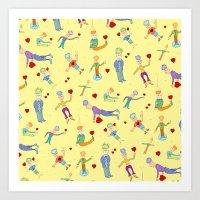 Mop Hearts Art Print