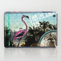 Palm trees and flamingos iPad Case