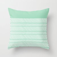 Herringbone Mint Boarder Throw Pillow