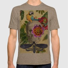 TROPICAL SKULL Mens Fitted Tee Tri-Coffee SMALL