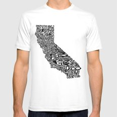 Typographic California White Mens Fitted Tee SMALL
