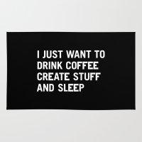 I just want to drink coffee create stuff and sleep Rug