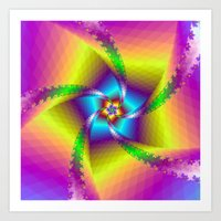 Whirligig in Yellow Blue and Green Art Print