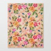 Golden Flitch (Digital Vintage Retro / Glitched Pastel Flowers - Floral design pattern) Canvas Print