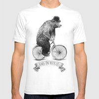 Bears on Bicycles (Lime) Mens Fitted Tee White SMALL