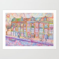 Wandering Amsterdam - Colored Pencil Art Print