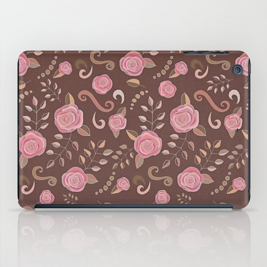 Coffee Roses - vintage rose pattern in pink and brown iPad Case