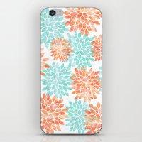 aqua and coral flowers iPhone & iPod Skin