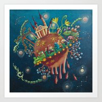 the intergalactic train Art Print