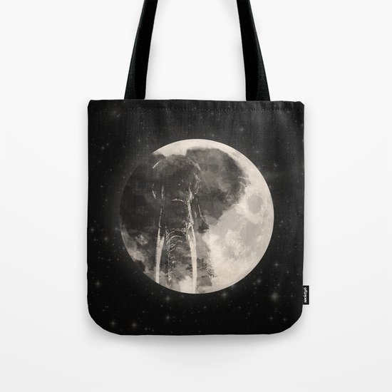 The Elephant in The Moon Tote Bag