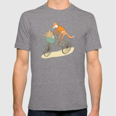 FOX ON BIKE Mens Fitted Tee Tri-Grey SMALL