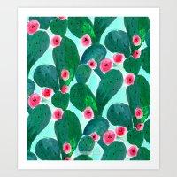 Jade Cactus Bloom Art Print