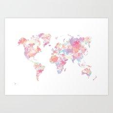 Watercolour World Map (pink) Art Print