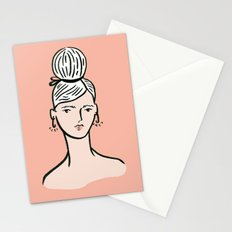 fille portant cheveux Stationery Cards