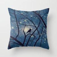 Moon light Crow Throw Pillow