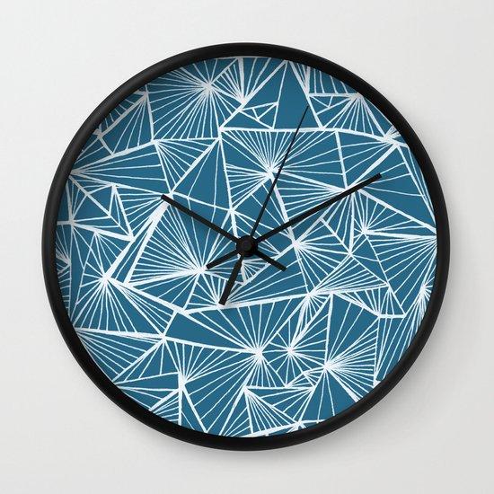 Triangular Texture - Reverse Blue Wall Clock