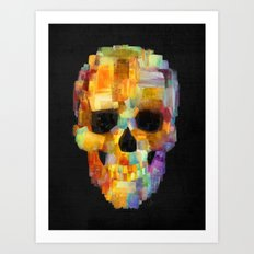 Skull Grunge Paint Black Art Print